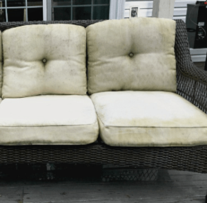 Mildew stains on outdoor furniture